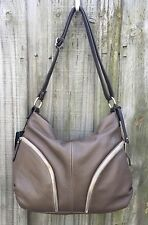 Giordano Made in Italy Taupe Brown Pebbled Leather Hobo Shoulder Bag Handbag NEW