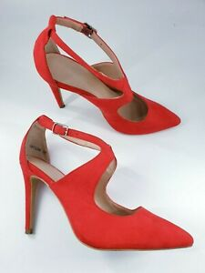 New Look size 4 (37) red faux suede buckle strap stiletto heel court shoes