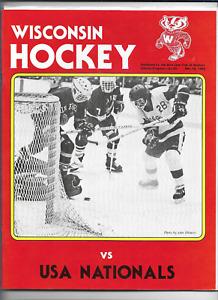 December 10 1982 WISCONSIN vs USA NATIONALS College Hockey Program (JS)