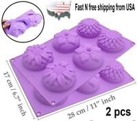 2 Sets 6 Cavity Silicone Mixed Flower Soap Cake Mold Mould For DIY USA Seller