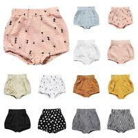 AU Summer Cotton Linen Shorts Pants Baby Boy Girl Multicolor Toddler CasualHarem