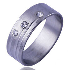 B1450 Pretty MEN'S Unisex Band Ring Clear CZ White Gold Filled Size 10#