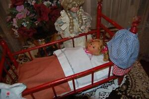 Antique 1930's Wooden Doll Crib 20 Inch Red Wood With 2 Dolls and Accessories