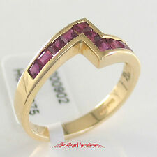 18k Solid Yellow Gold Genuine & Natural Red Square Ruby Cocktail Ring TPJ