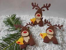 3 Rentiere süßer Elch als Kartenaufleger oder Streuteil Weihnachten Scrappen K9
