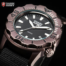 Marine 100M SHARK ARMY Diver Nylon Military Men's Brown Sport Watch + Steel Box