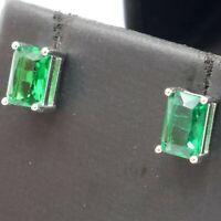 Baguette Cut Emerald Stud Earrings Women Wedding Jewelry 14K White Gold Plated