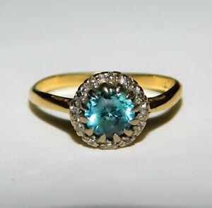 Stunning Antique Victorian 18ct Solid Gold Blue Zircon & Diamond Cluster Ring