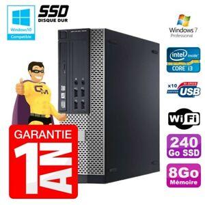 PC Dell 7010 SFF Intel I3-2120 RAM 8Go Disque 240Go SSD DVD Wifi W7