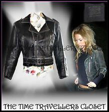 Topshop Kate Moss Rare Iconic Cropped Black Distressed Leather Biker Jacket UK10