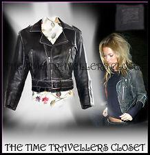 Kate Moss Rare Iconic Cropped Black Distressed Vtg Leather Biker Jacket 8 10 12