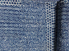 Patchwork Kantha Quilt Hand Block Print Fabric Indigo Blue Color Twin Size Ralli