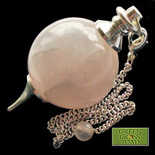 Rose Quartz Ball Crystal Dowsing Pendulum Heart Chakra Unconditional Love Stone