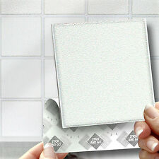 18 White Stick On Wall Tile Stickers Transfers For Kitchens Bathrooms