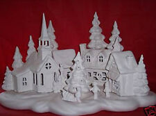 Ceramic Bisque Ready to Paint  Large Christmas Village  5 light kit included
