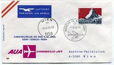FFC 1966 Austrian Airlines AuA Volo Speciale Caravelle Jet - Geneve Zurich Wien