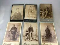 LOT OF 6 OLD PHOTOGRAPHS EARLY 1900'S TAKEN IN PROFESSIONAL STUDIOS - GENTLEMEN