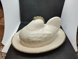Epoch Chicken Hen Covered Butter Dish 1/4 Lb Cream Beige