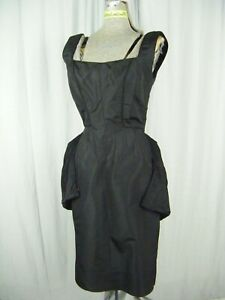 Jobere New York Vintage 50s Seda Negra Crepé Cóctel Vestido W/ Lazo Wrap-Bust 33