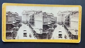 New Orleans Louisiana Stereoview St Charles Street From Canal by Blessing 1870s