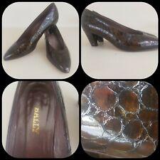Vintage uk 3.5 ladies bally court shoes brown mock croc 40s style war land girl
