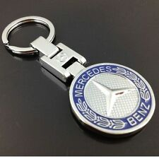 Mercedes Benz Blue Classic Logo Stainless Steel Keyring. AMG/C63/E63