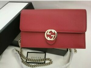 Authentic Gucci Interlocking G Wallet On Chain Cluth Bag - Brand New