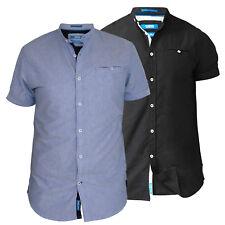 D555 Mens Short Sleeve Oxford Collarless Shirt With Pocket (DWIGHT)