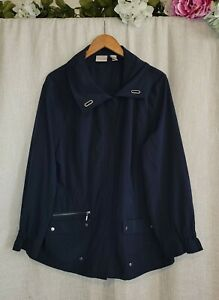 Zenergy By Chico's  Navy Blue Lightweight  3/4 Sleeve Jacket  Size  3 Xl Womens