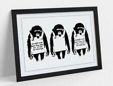 BANKSY LAUGH NOW MONKEYS -FRAMED POSTER WALL ART PRINT ARTWORK- BLACK & WHITE