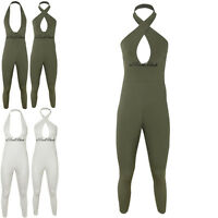 WOMENS LADIES SEXY JUMPSUIT SLEEVELESS BACKLESS PLUNGE HALTER NECK PLAYSUIT SIZE