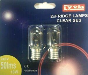 Lyvia Twin Pack 10W Fridge/Freezer Bulb Appliance Light 240V SES E14 Clear Lamp