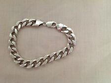"MEN'S SOLID SILVER STERLING 925 CURB CHAIN BRACELET 9.75"" LONG 65.2G EXCELLENT"
