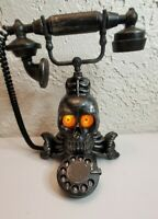 Gemmy Animated noise lights up Skull Victorian Rotary Telephone Phone Halloween