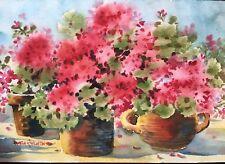 7 X 10 Original Watercolor Pamela Wilhelm Geraniums In Terra-Cotta Pots