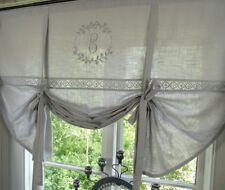 Raff Gardine CRYSTAL GRAU 120x120 LillaBelle Monogramm bestickt Rollo Curtain