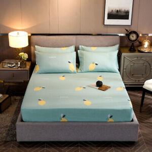 Cotton Blend Bed Fitted Sheet Cover Mattress Protector for Full Queen King Size