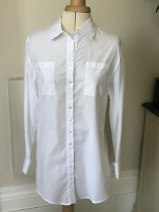 Anne Fontaine White Longline Shirt. Size 36