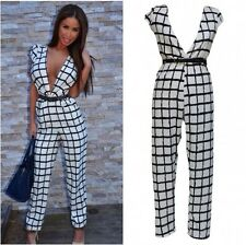 Deep Plunge Black White Cap Sleeve Check Belted Jumpsuit Unitard Playsuit UK8-10
