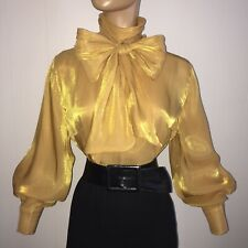 """L GOLD Shiny IRIDESCENT Satiny High Neck BOW BLOUSE 44"""" Bust Sheer Vintage Style"""
