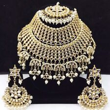 INDIAN JEWELLERY SET DELICATE KUNDAN STYLE GOLD PLATED CLEAR BEADS NEW