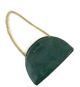 Whistles Miri Dark Green Croc Effect Half Moon Shoulder Bag Handbag