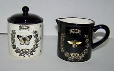 Tre Sorelle Studios Bumble Bee and Butterfly Themed Creamer & Sugar Set - NEW