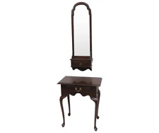 Vintage Ethan Allen Cherry Wood Console Or Hall Table Entryway & Matching Mirror