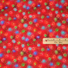 "Sassy Holiday String Lights Christmas Cotton Fabric  23"" x 42""    #16606"