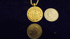 bling gold plated bank NUGGET 1980 KRUGERRAND coin charm chain necklace hip hop