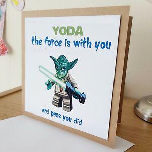 LOLPresent Handmade Star Wars Yoda Graduation greetings Card force pass student