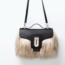 ZARA GORGEOUS BLACK FUR CITY BAG SHOPPER TOTE *REF 4294/004 BRAND NEW