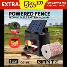 8km Solar Electric Fence Energiser Power Charger 0.3J Farm Poly Wire Insulator