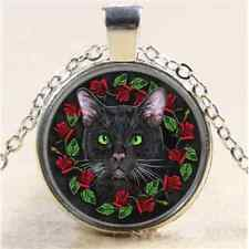 Tibet Silver Chain Pendant Necklace Witch Flower Black Cat Cabochon Glass